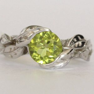 Peridot Engagement Ring, Leaves Engagement Ring With Peridot