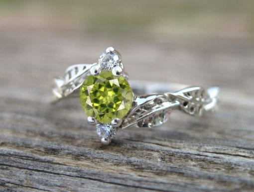 Peridot Leaf Engagement Ring, Leaves Engagement Ring