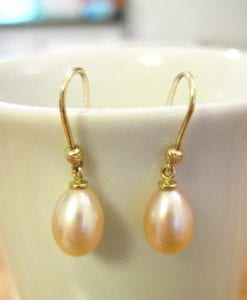 Pink drop Pearl Gold Earrings, Yellow Gold Wedding Earrings With Pearl
