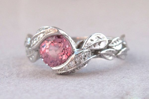 Pink Sapphire Leaves Engagement Ring, Leaf natural Pink Sapphire Engagement Ring