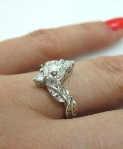 Platinum 1 carat Diamond Leaf Engagement Ring,Leaves Engagement Ring