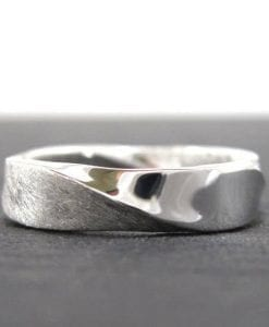 Platinum mobius mens wedding band, Mobius wedding ring in platinum