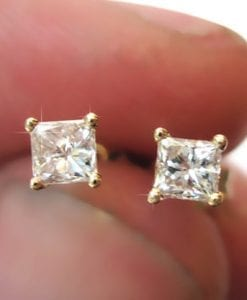 Princess Cut Diamond Gold Stud Earrings, Diamond Stud Earrings