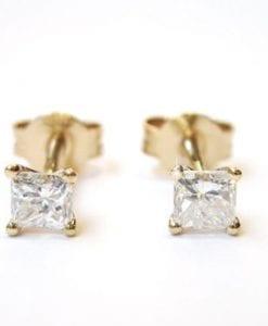 Princess Cut Diamond Gold Stud Earrings, Diamond Stud Earrings