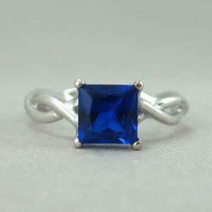 Princess cut sapphire infinity engagement ring, Infinity sapphire engagement ring