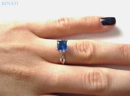 Princess cut sapphire infinity engagement ring, Infinity sapphire engagement ring