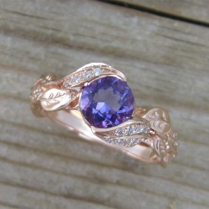 Purple Amethyst Rose Gold Engagement Ring, Leves Engagement Ring