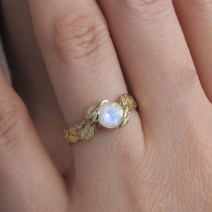Rainbow Moonstone Leaves Engagement Ring, Leaf Ring With Moonstone