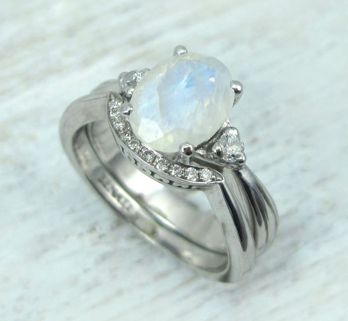 a346283d58ea55 Rainbow Moonstone Ring Set, Antique Moonstone Engagement Ring Set ...