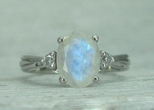 Rainbow Moonstone Ring Set, Antique Moonstone Engagement Ring Set