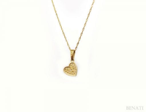 Romantic gold heart pendant with diamonds - crafted in 14k yellow solid gold - best diamond deal, new designer heart