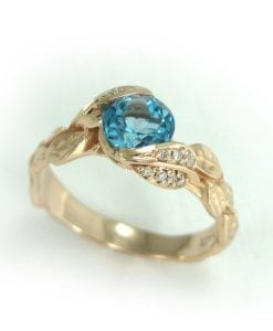 Rose Gold Blue Topaz Engagement Ring, Rose Gold Diamond Leaf Engagement Ring