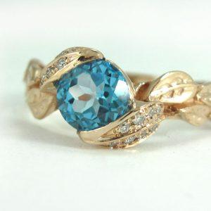 Rose Gold Blue Topaz Engagement Ring, Rose Gold Diamond Leaf Engagement Ring
