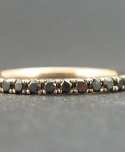 Rose Gold Diamond Eternity Band, Rose Gold  Black Diamond Ring