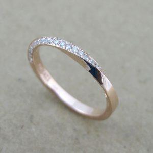 Rose gold diamond mobius ring, 18k rose gold diamond eternity band