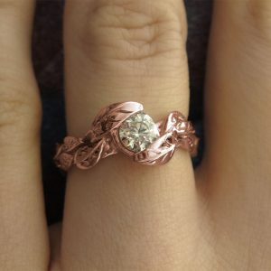 Rose Gold Engagement Ring, Engagement Leaf Ring