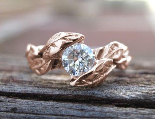 Rose Gold Engagement Ring, Engagement Leaf Ring