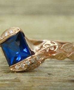 Rose Gold Engagement Ring, Unique Engagement Ring