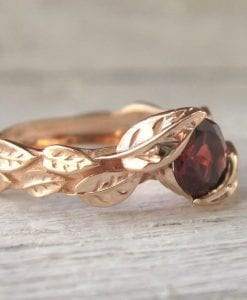 Rose Gold Garnet Leaf Engagement Ring, Garnet Leaves Engagement Ring