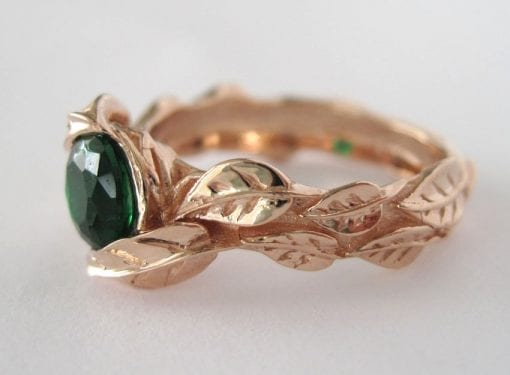 Rose Gold Leaf Engagement Ring, Green Stone Leaf Engagement Ring