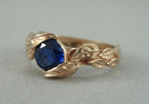 Rose Gold Leaf Engagement Ring, Rose Gold Leaves Sapphire Engagement Ring