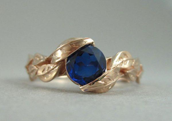 Rose Gold Leaf Engagement Ring, Rose Gold Leaves Sapphire Engagement Ring