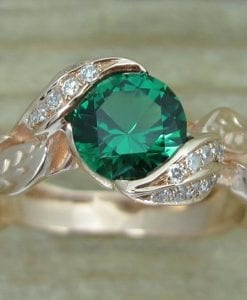 Rose gold Leaf Ring, Emerald Leaf Engagement Ring