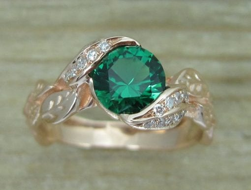 Rose gold Leaf Ring, Emerald Leaf Engagement Ring
