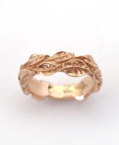 Rose Gold Leaf Ring, Gold Leaf Wedding band