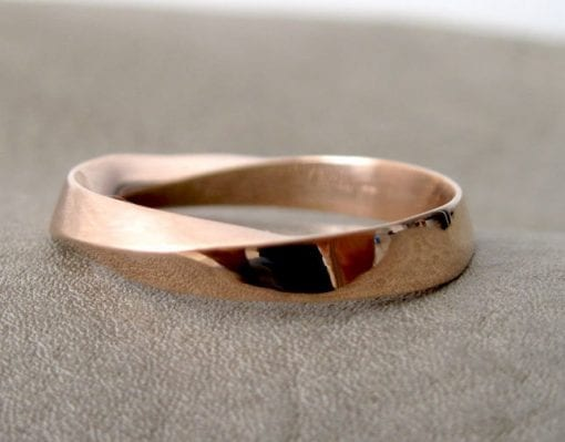 Rose Gold Mens Wedding Band, Unisex Mobius Wedding Ring