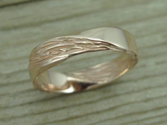 Rose Gold Mobius Wedding band, Mobius Ring In 14k Rose Gold