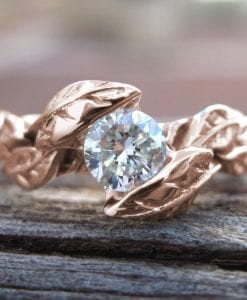 Rose Gold Moissonite Engagement Ring, Leaves Moissanite Engagement Ring
