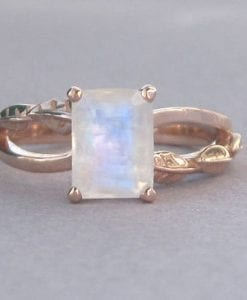Rose Gold Moonstone Engagement Ring, Emerald Cut Moonstone Leaves Engagement Ring