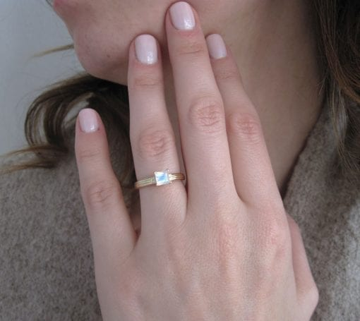 Rose Gold Moonstone Vintage Style Engagement Ring, Rose Gold Antique Moonstone Ring