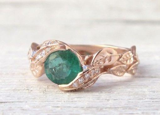 Rose Gold natural Emerald Leaf Ring, Leaves Engagement Ring
