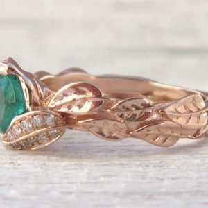 Rose Gold natural Emerald Leaf Ring, Leaves Engagement Ring