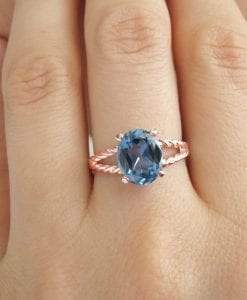 Rose Gold Ring, Blue topaz engagement ring