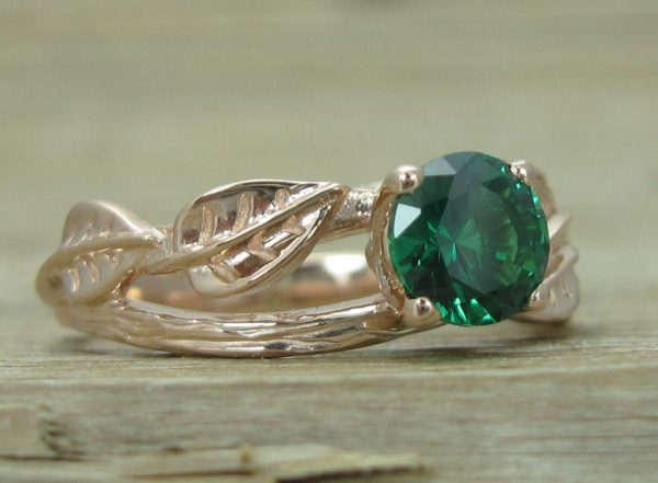 Rose gold Twig Emerald Ring, Leaves Emerald Engagement Ring