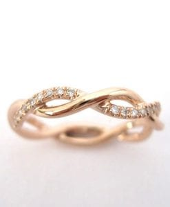 Rose Gold Wedding Ring, Diamond Infinity Wedding Ring