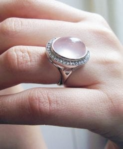 Rose Quartz Cocktail Diamond Ring In 14k White Gold - Pink gemstone ring- Bold gold ring - Designer statement - New designer white gold ring