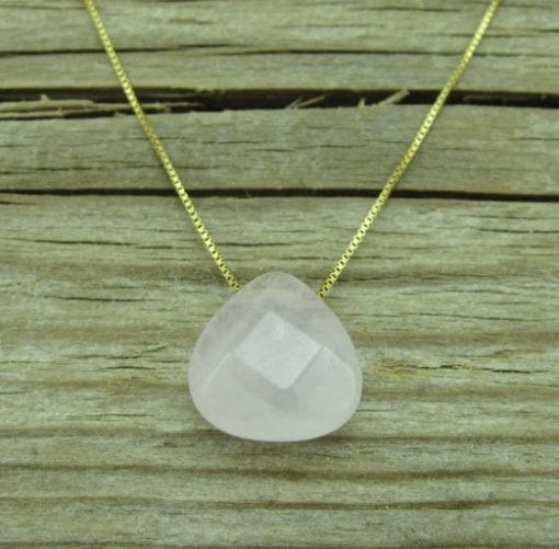 Rose Quartz Pear Cut Gold Necklace, Rose Quartz Necklace