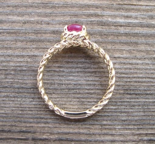 Ruby Engagement Ring, Cushion Ruby Braided