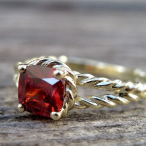 Ruby Engagement Ring, Cushion Ruby Braided Rope Engagement Ring