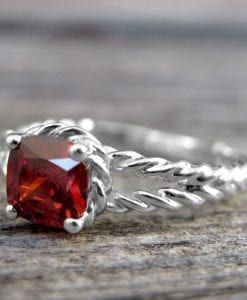 Ruby Engagement Ring, Cushion Ruby Rope Engagement Ring