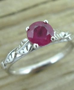 Ruby Engagement Ring, Leaf Engagement Ring