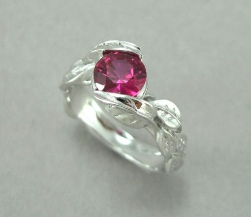 Ruby Leaf Engagement Ring, Leaves Engagement Ring