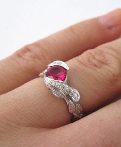 Ruby Leaf Ring, Ruby And Diamond Leaf Engagement Ring