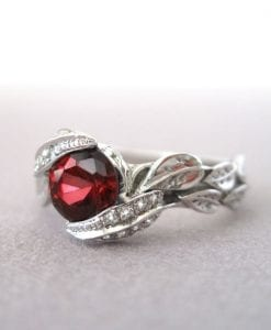 Ruby Leaves Ring, Ruby And Diamond Leaf Engagement Ring