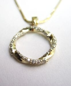 Sale - Infinity mobius pendant - 14k yellow gold & natural diamonds - new infinity knot pendant - loop - 0.42 carat
