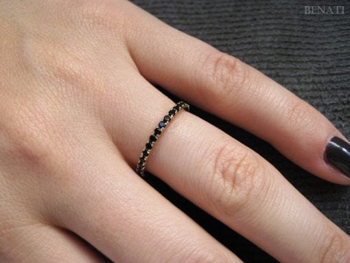 Sale - Stackable Black Eternity Ring, Black Stones Infinty Ring